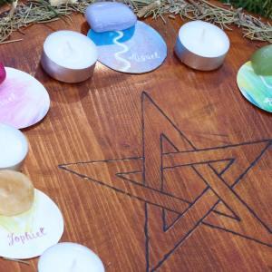 Tabuleiro Mandala Mágica dos Anjos e dos Seres da Natureza e Símbolos