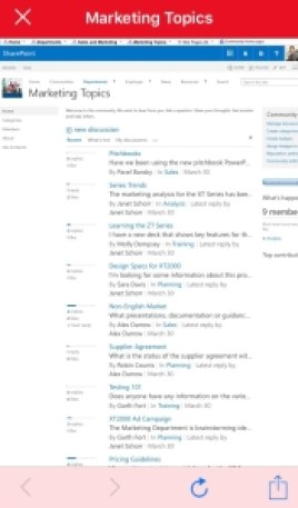 sharepoint page content mobile app