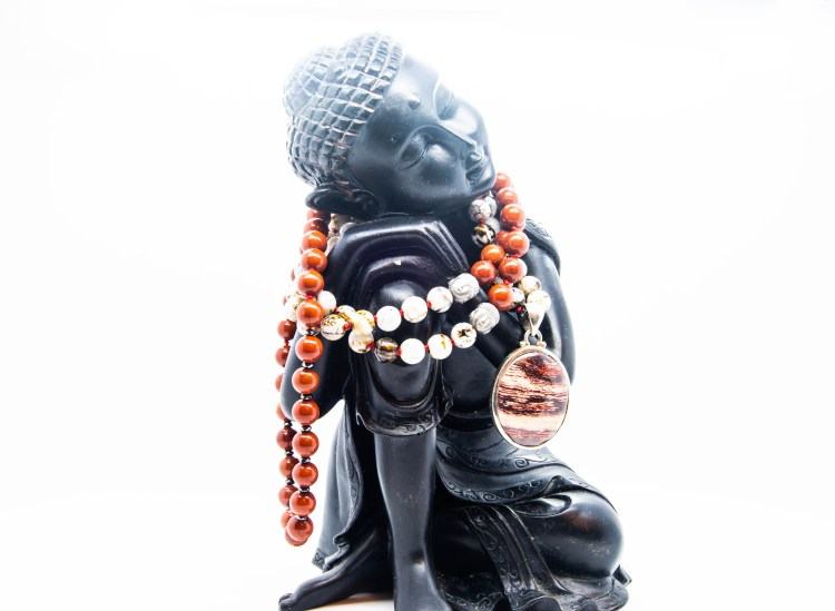 Fossilized Wood Buddha Mala With Agate & Red Jasper