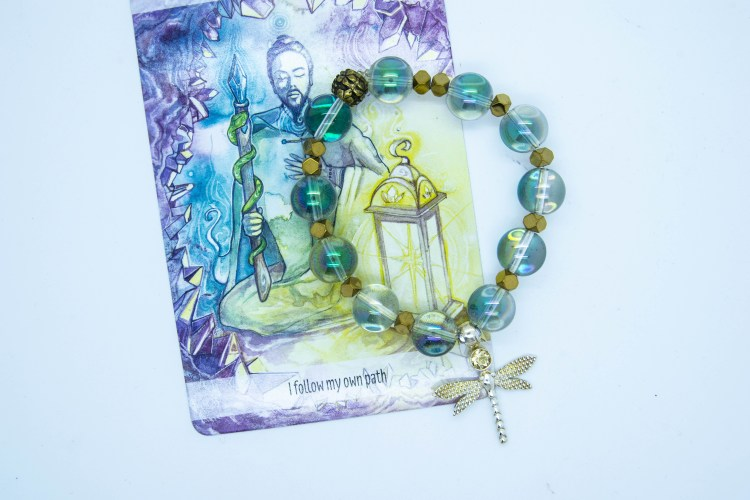 Dragonfly Symbology Bracelets, Mixed Crystals