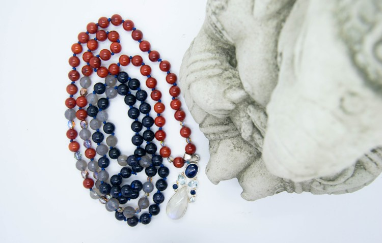 Custom Moonstone Mala With Kyanite, Topaz, Coral and Blue Goldstone