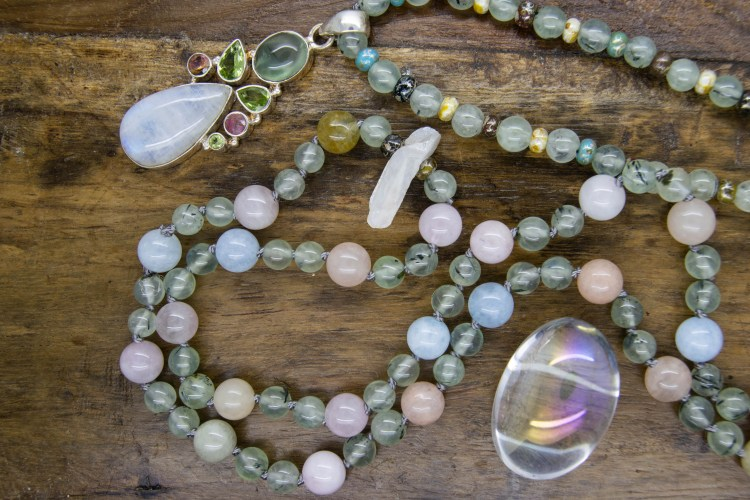 Moonstone Mala with phrenite & morganite