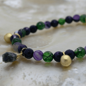 Tourmaline Charm, Faceted Agate & Bell Symbology Bracelet