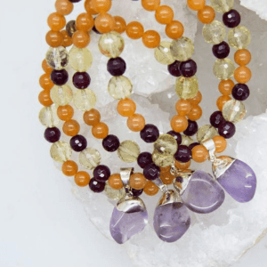 One Amethyst Charm Bracelet With Aventurine, Agate & Lemon Quartz