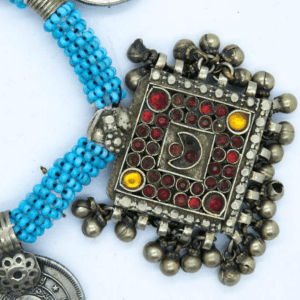 Persian Dancing Turquoise Coin Necklace 1970's