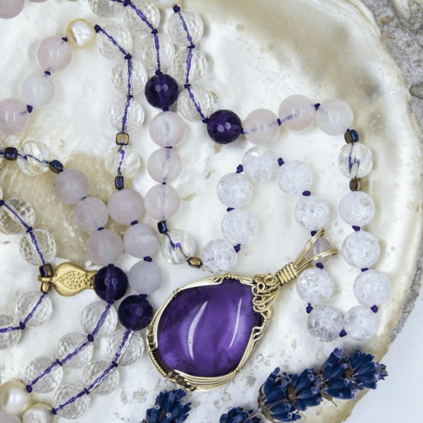 Amethyst Mala With Rose Quartz, Clear Quartz and Pomegranate Charm