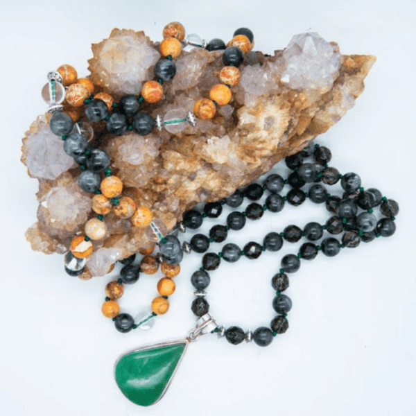 Oneness Crystal Mala With Chrysoprase, Clear Quartz, Sea Sediment, Smoky Quartz & Larvikite