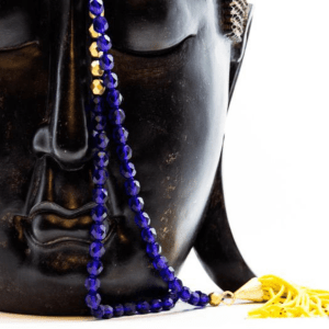 Hand Knotted Silk, Glass, Howlite & Seed Bead Mala, Solar Plexus And 3rd Eye
