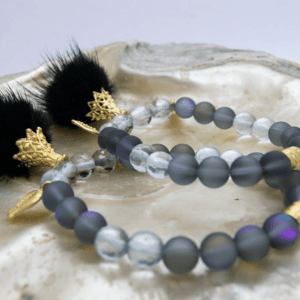 Black Faux Pom Pom, Australian Crystal & Seaglass Bracelet With Pomegranate Charms
