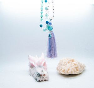 Larimar Mala With Rose Quartz, Amazonite, Agate, Hematite, Apatite & Glass With Tassle