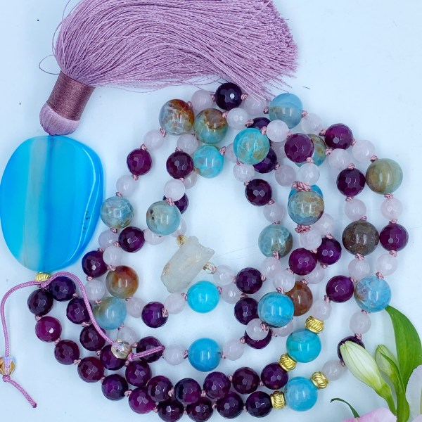 Amethyst, Agate & Morganite Mala, Communicate With Love