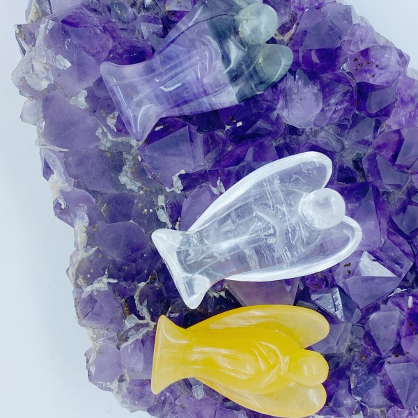 Trio of powerful crystal Angels, Orange Calcite, Flourite and Clear Quartz