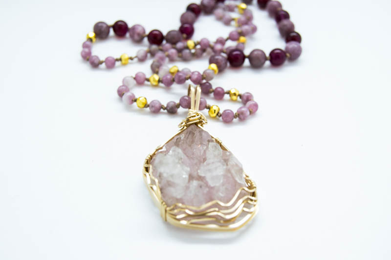 Natural Rose Quartz Necklace With Lepidolite, Haematite & Pink Agate