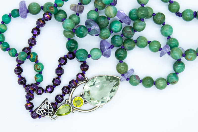 Handmade Mystic Forest Necklace With Peridot, Prasiolite, Ruby Fuschite & more