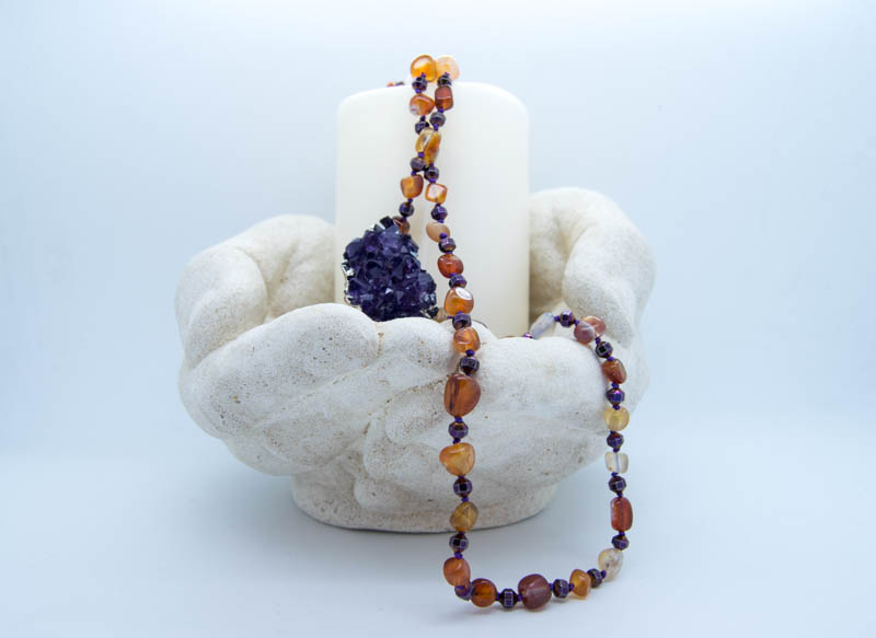 Handmade Amethyst Ward Necklace With Haematite & Agate