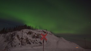 the aurora as seen from Moose Creek bluffs, south of North Pole.