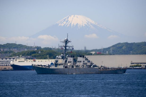 TOKYO BAY, Japan (May 13, 2016) The Arleigh Burke-class guided-missile destroyer USS Barry (DDG 52) transits past Mt. Fuji as it arrives at Fleet Activities Yokosuka in Japan. (U.S. Navy photo by Mass Communication Specialist 2nd Class Jason Kofonow/Released)