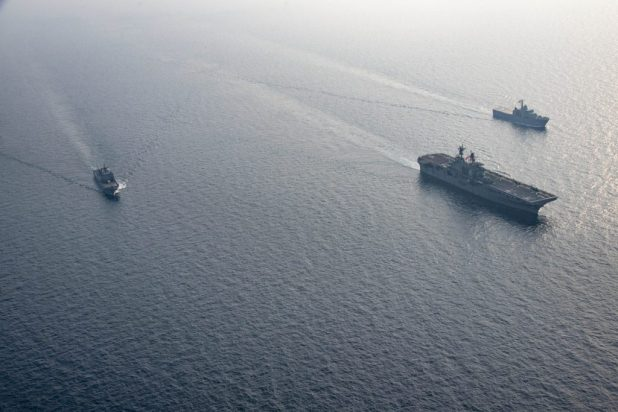 GULF OF THAILAND (Feb. 18, 2018) The amphibious assault ship USS Bonhomme Richard (LHD 6), the Royal Thai Navy landing platform dock ship HTMS Angthong (LPD 791) and the Republic of Korea amphibious landing ship ROKS Cheon Ja Bong (LST-687) steam in formation during a Exercise Cobra Gold 2018 photo exercise. (U.S. Navy photo by Mass Communication Specialist 2nd Class William Sykes/Released)