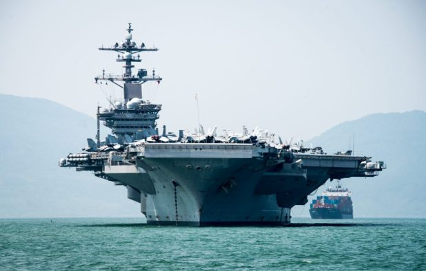 DA NANG, Vietnam (March 5, 2018) The Nimitz-class aircraft carrier USS Carl Vinson (CVN 70) arrives in Da Nang, Vietnam for a scheduled port visit.(U.S. Navy photo by Mass Communication Specialist 3rd Class Devin M. Monroe/Released)