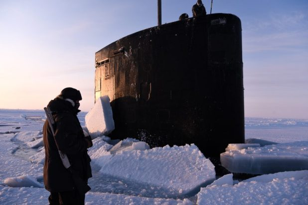BEAUFORT SEA (March 11, 2018) The Los Angeles-class fast-attack submarine USS Hartford (SSN 768) surfaces from the ice in support of Ice Exercise (ICEX) 2018. (U.S. Navy photo by Mass Communication 2nd Class Michael H. Lee/Released)