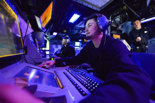 ATLANTIC OCEAN (Feb. 25, 2018) Operations Specialist Seaman Hope Hernandez monitors a radar console aboard the guided-missile destroyer USS Winston S. Churchill (DDG 81) while underway as part of the Harry S. Truman Carrier Strike Group (HSTCSG) Composite Training Unit Exercise (COMPTUEX). (U.S. Navy photo by Mass Communication Specialist 3rd Class Michael Chen/Released)