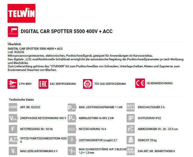 Technische Daten Ausbeulspotter Car Spotter 5500 zur Ausbeulstation Pullerstation