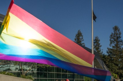 Revisit 2013-06-26: City Hall Sunburst with Rainbow Flag