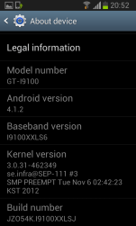 Galaxy S II Jelly Bean - About Device