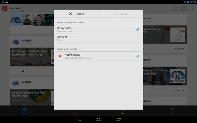 Google+ Settings - Circle