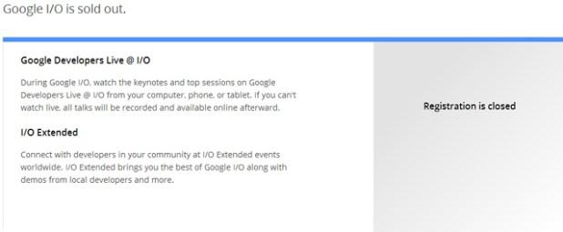 Google IO Soldout