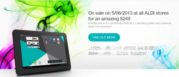 aldi to sell 10 3g enabled android tablet from next week. Black Bedroom Furniture Sets. Home Design Ideas