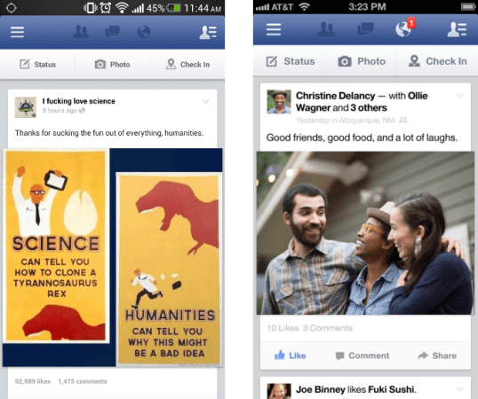 As you can see, the Facebook application for Android (left) is identical to its iOS counterpart (right)