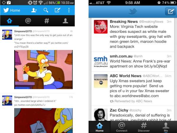 Twitter's Android (left) and iPhone (right) applications