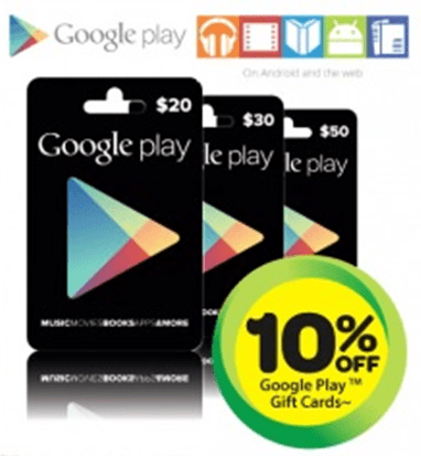 Google Play Gift Cards - 10Percent off