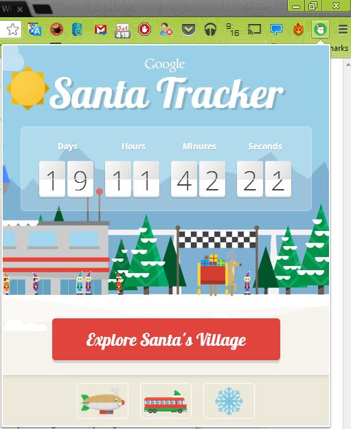 Santa Tracker Chrome Extension