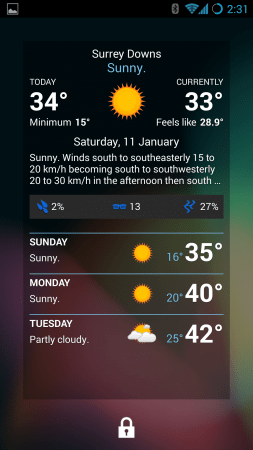Pocket Weather - Lockscreen