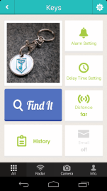 The main screen for interacting with the TinyFinder tracker.