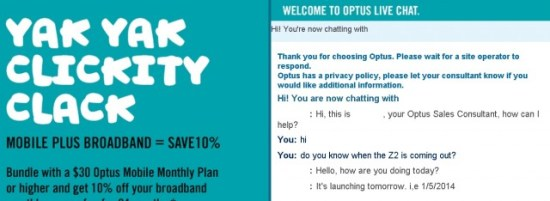 Z2 Optus Live Chat
