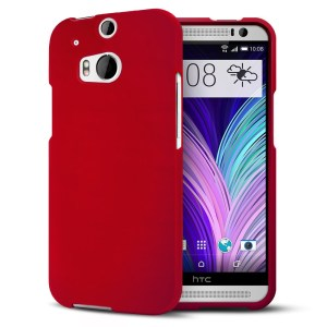 HTC One M8 2014 Hard Shell Case Matte Feather Cover - Red