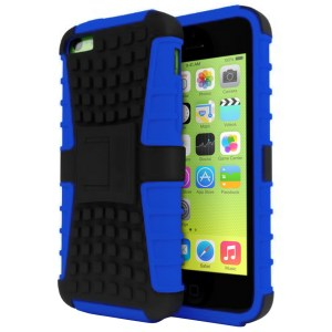 Rugged Dual Layer Tough Case w/ Kickstand for iPhone 5c - Blue