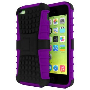 Rugged Dual Layer Tough Case w/ Kickstand for iPhone 5c - Purple