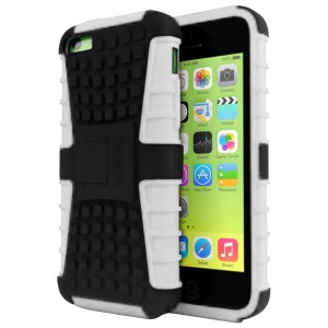Rugged Dual Layer Tough Case w/ Kickstand for iPhone 5c - White