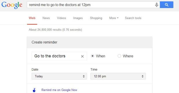 Google Now Remind Me - Search Bar