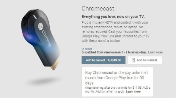 Chromecast Google Play Music offer.