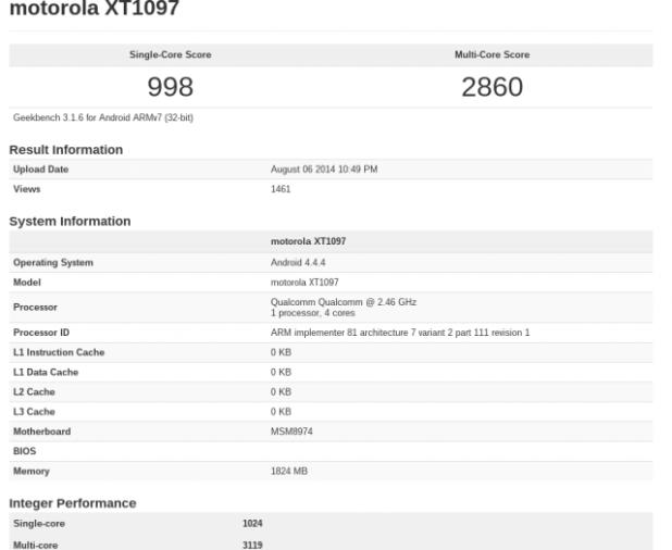 Moto X+1 Geekbench