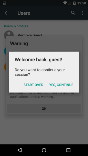 Guest sessions can continue or start over.