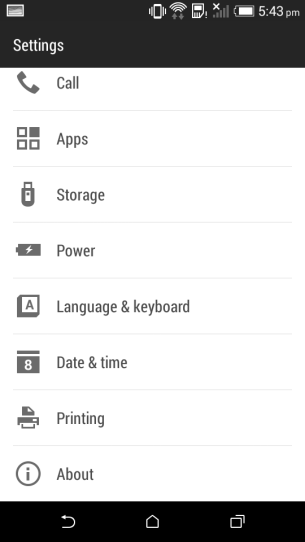 Settings page 1