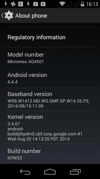 Android One - Settings