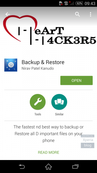 Backup and Restore - Hacked app page