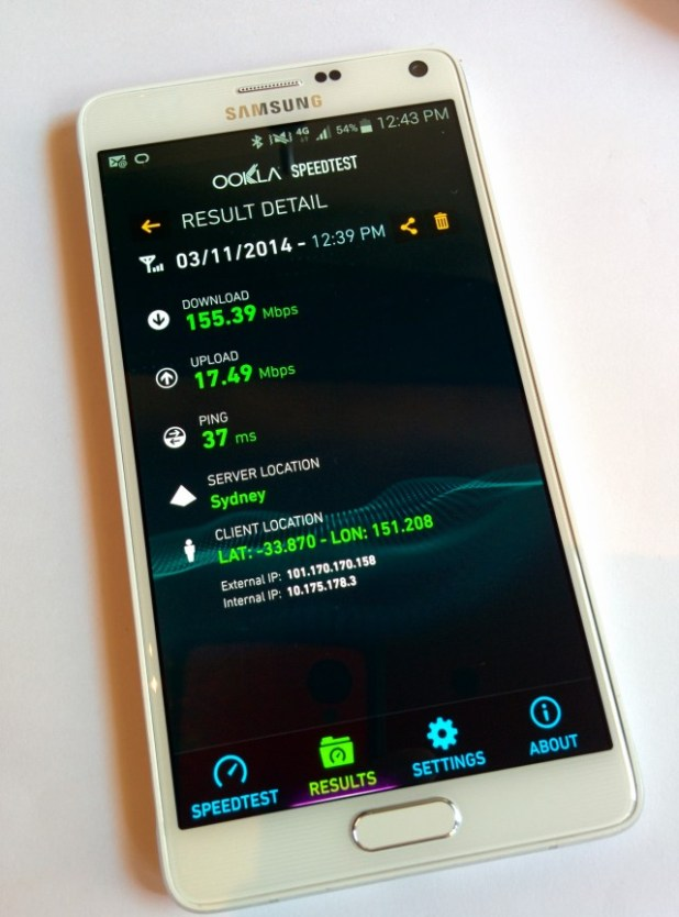 Telstra 4GX speed test on Note 4